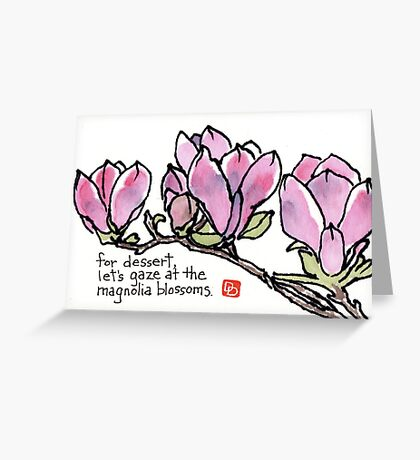 Magnolia Blossoms for Dessert Greeting Card