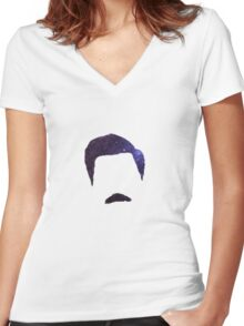 Ron Swanson Galaxy Women's Fitted V-Neck T-Shirt