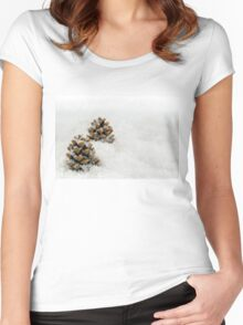 Fir Cones in a Snow Scene Women's Fitted Scoop T-Shirt