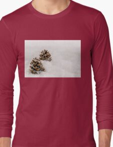 Fir Cones in a Snow Scene Long Sleeve T-Shirt