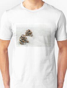 Fir Cones in a Snow Scene Unisex T-Shirt