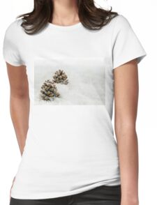Fir Cones in a Snow Scene Womens Fitted T-Shirt