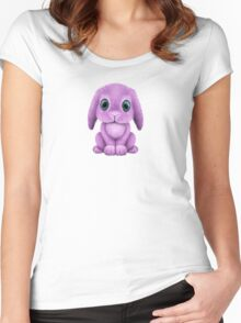 Cute Purple Baby Bunny Rabbit  Women's Fitted Scoop T-Shirt