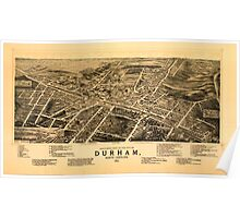 Panoramic Maps Bird's-eye view of the city of Durham North Carolina 1891 Poster