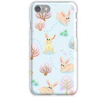 Seamless pattern of winter forest with rabbits between trees iPhone Case/Skin