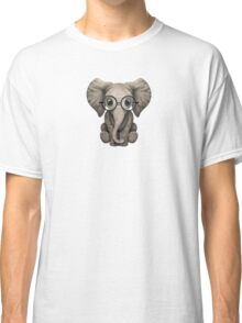 Cute Baby Elephant Calf with Reading Glasses on Pink Classic T-Shirt