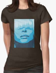 Face & Fringe Blue Womens Fitted T-Shirt