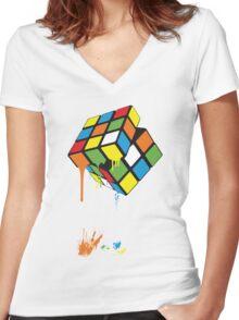 Rubik's Gloop Women's Fitted V-Neck T-Shirt