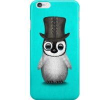 Cute Baby Penguin with Monocle and Top Hat on Blue iPhone Case/Skin