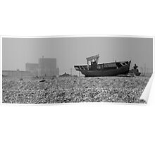 Dungeness Hulk and Power Station - monochrome Poster