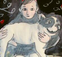 girl with dog Sticker