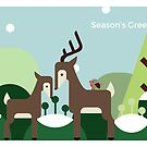 Woodland Deer - Christmas Card by psygon
