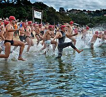 Balmoral Ocean Swim - Red Caps by Ian English