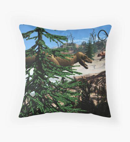 Prehistoric,Tyrannosaurus and Eustreotopondylus. Throw Pillow