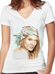 Kylie Minogue - bandana/kerchief (color version) Women's Fitted V-Neck T-Shirt