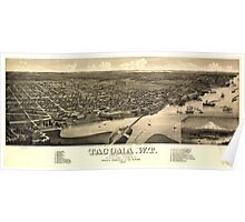 Panoramic Maps View of the city of Tacoma WT Puget-Sound county seat of Pierce Cty 1884 Poster