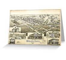 Panoramic Maps Wolfe City Texas 1891 Greeting Card