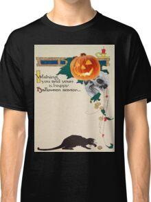 Black Cat (Vintage Halloween Card) Classic T-Shirt