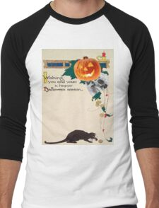 Black Cat (Vintage Halloween Card) Men's Baseball ¾ T-Shirt