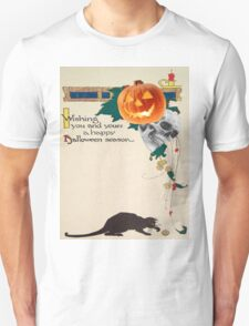 Black Cat (Vintage Halloween Card) T-Shirt