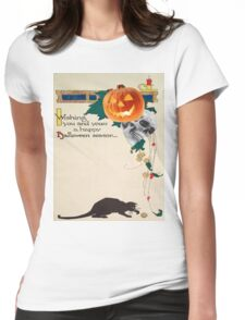 Black Cat (Vintage Halloween Card) Womens Fitted T-Shirt