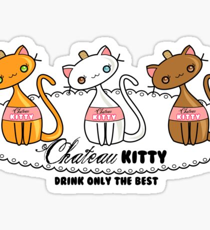 Kawaii Chateau Kitty Wine Bottle  Sticker