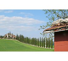 red shed and house in Italy Photographic Print