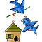 Whimsical Bluebirds and House by dorcas13