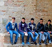 five boys in jeans in Italy by Anne Scantlebury