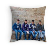 five boys in jeans in Italy Throw Pillow