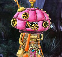 Red Steampunk Mushroom by NuttyRachy