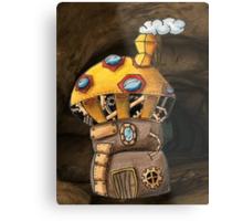 Yellow Steampunk Mushroom Metal Print
