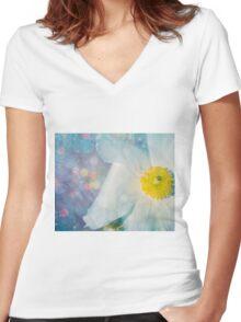 Flower bluedifil Women's Fitted V-Neck T-Shirt