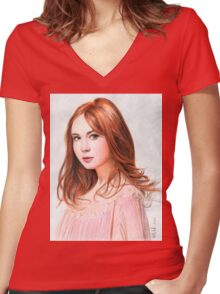 Amy Pond - Karen Gillan from Doctor Who saga Women's Fitted V-Neck T-Shirt