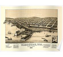 Panoramic Maps Birds eye view of Washburn Wis Bayfield County 1886 Poster
