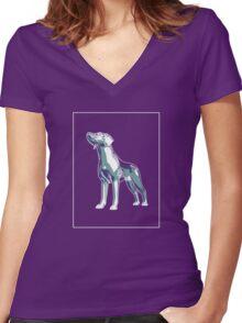 Dog Mauve Green E Women's Fitted V-Neck T-Shirt