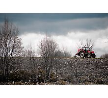 A Red Farm Vehicle on Wastelands, Hokkaido, Japan Photographic Print
