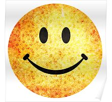 Smiley face - hippie sunflowers Poster
