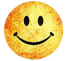 Smiley face - hippie sunflowers Photographic Print