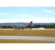 Qantas airbus A330 VH-EBD touch down Photographic Print
