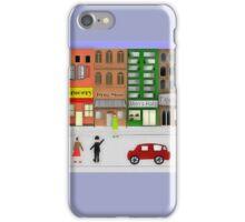 Retro City Street Scene Watercolor1950's iPhone Case/Skin