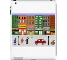Retro City Street Scene Watercolor1950's iPad Case/Skin