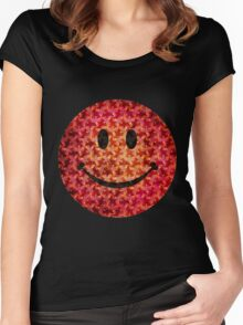 Smiley face - Escher graphic pattern Women's Fitted Scoop T-Shirt