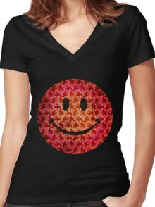 Smiley face - Escher graphic pattern Women's Fitted V-Neck T-Shirt