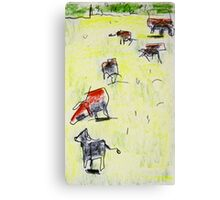 cows in the paddock Canvas Print