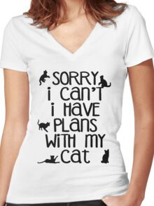 Cat Person Humor - Sorry I Can't Women's Fitted V-Neck T-Shirt