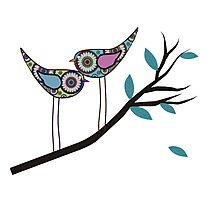 Retro Bird Art 2 Paisley Birds On Tree Branch Photographic Print