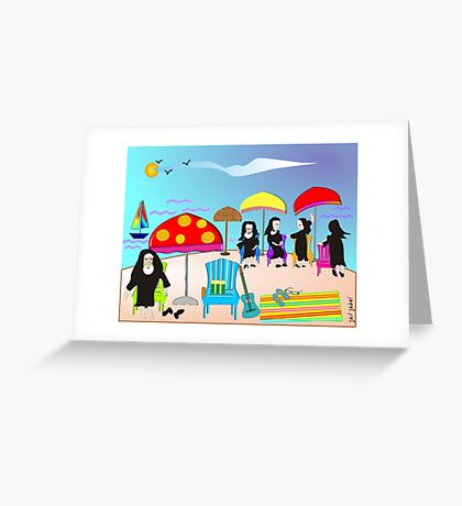 "Whimsical Nun Art  ""At The Beach"" Greeting Card"