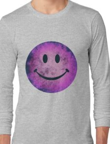 Smiley face - purple grunge Long Sleeve T-Shirt