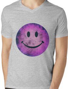 Smiley face - purple grunge Mens V-Neck T-Shirt